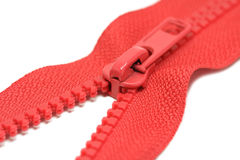 Zips for clothes of red color Stock Photo