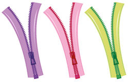 Zips in three colors Stock Photo