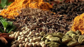 Zira fray. Mixing spices. stock video footage