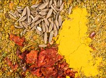Zira seeds and curry royalty free stock image