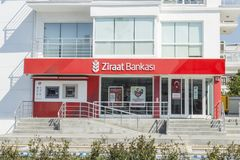 Ziraat bank in Engin boulevard in Marmaris, Mugla, Turkey royalty free stock photos