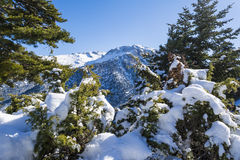 Ziria mountain covered with snow on a winter day, South Peloponnese, Greece Royalty Free Stock Image