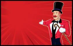 Zirkus-Ansager mit Hintergrund Lizenzfreie Stockbilder
