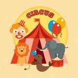 Zirkus-Plakat flach Stockfotografie