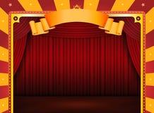 Zirkus-Plakat mit Stufe und roten Trennvorhängen Lizenzfreie Stockfotos