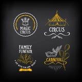 Zirkus und Karnevalsweinlese entwerfen, beschriften Elemente Vektor mit Lizenzfreies Stockfoto