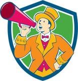 Zirkus-Zirkusdirektor-Megaphon-Kamm-Karikatur Stockfotos
