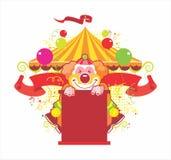 Zirkusaufbau mit dem freundlichen Clown stock abbildung