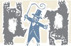 Zirkusdirektor und Bären Stockbild