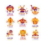 Zirkusshowlogo-Entwurfssatz, Karneval, festlich, Zirkusshowaufkleber, Ausweise, Handgezogene Gestaltungselemente für verwendet we vektor abbildung