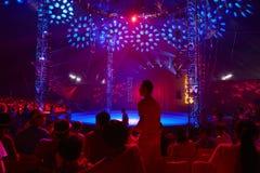 Zirkusstadium in der purpurroten Atmosphäre Stockfotos