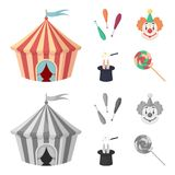 Zirkuszelt, Jongleurmuskatblüten, Clown, Magierhut Gesetzte Sammlungsikonen des Zirkusses in der Karikatur, einfarbiges Artvektor Lizenzfreies Stockfoto