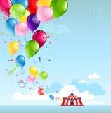 Zirkuszelt und -ballone Stockfotografie