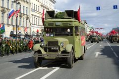 ZIS-8 agitation bus during the Great Patriotic War on the Retro Transport Parade in honor of the Victory Day. ST PETERSBURG, RUSSIA - MAY 09, 2017: ZIS-8 stock photos