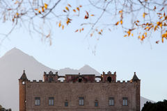 The zisa of palermo, silhouette with mountains Royalty Free Stock Image