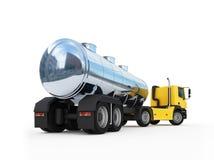 Zisterne des großen orange Tankfahrzeug-LKWs Stockfotos