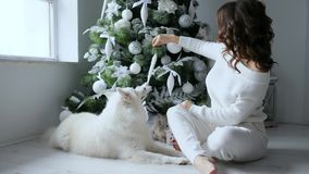Zit het vooravond nieuwe jaar, meisje naast huisdier en verfraait Kerstmisboom met wit speelgoed in comfortabele atmosfeer stock footage