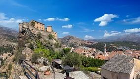 Zitadelle und historische Stadt von corte Korsika stockfoto