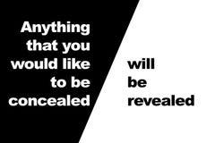 Zitat: alles, das Sie verborgen werden möchten, wird entlastet Stockbilder