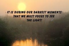 Zitat auf Sonnenaufgang Stockbild