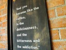 Zitat im Café Lizenzfreies Stockfoto