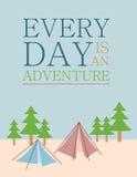 Zitat: Jeder Tag ist ein Abenteuer Stockfotografie