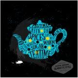 Zitat-Kartendesign des Vektors kreatives teatime Stockbild