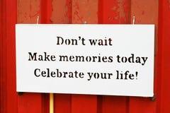 Zitat von Gedächtnissen Lizenzfreie Stockfotos