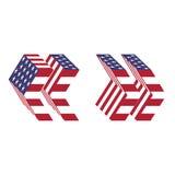 Zitate des lateinischen Alphabetes USA-Flagge 3d Strukturierter Guss Lizenzfreies Stockfoto
