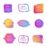 Zitatkästen mit Text Stellen Sie von der Farbe zitiert Blasenschablonen ein Mehr stellt in mein Portefeuille ein Zitat im kreativ stock abbildung