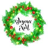 Zitatkalligraphie-Grußkarte Feiertags Joyeux Noel French Merry Christmas Hand gezeichnete auf Weihnachtskranzverzierungs-Hintergr Lizenzfreies Stockfoto