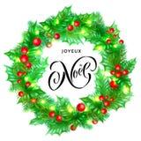 Zitatkalligraphie-Grußkarte Feiertags Joyeux Noel French Merry Christmas Hand gezeichnete auf Weihnachtskranzverzierungs-Hintergr Stockfoto