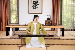 Zither performance-China tea ceremony Stock Image