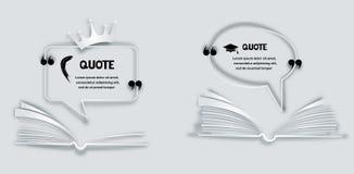 Zitieren Sie Papierrahmen mit Feder, krönen Sie und öffnete Buch vektor abbildung