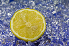 Zitrone. Cold fresh lemon with ice in the back Royalty Free Stock Images