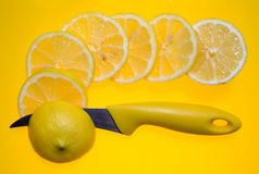 Zitrone auf Gelb stockbilder