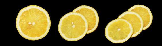 Zitrone auf schwarzem Hintergrund Lizenzfreie Stockbilder