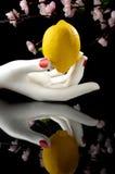 Zitrone in der weißen Hand Lizenzfreie Stockfotos