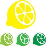 Zitrone Flache Ikonen Vektor Stock Abbildung