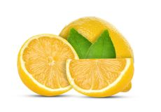 Zitrone getrennt auf weißem Hintergrund lizenzfreie stockfotografie