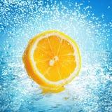 Zitrone im Wasser Stockfotografie