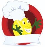 Zitrone-Karikatur-Zeichen-mit-promo-Farbband Lizenzfreies Stockfoto