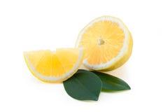 Zitrone mit Blättern Lizenzfreies Stockbild