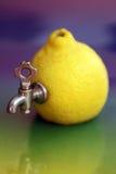 Zitrone mit dem Hahn kreativ Stockbilder