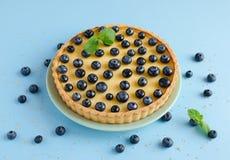 Zitrone Tartlet verziert mit Blaubeeren und Minze Lizenzfreies Stockbild