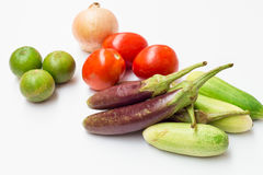 Zitrone, Tomate, Zwiebel, Gurke und purpurrote Aubergine Lizenzfreie Stockbilder