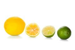 Zitrone und Kalk auf Weiß Stockfotografie