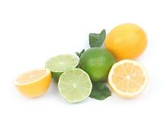 Zitrone und Kalk getrennt auf weißem Hintergrund Stockfotos