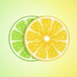 Zitrone- und Kalkscheiben Stockfotos