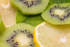 Zitrone- und Kiwifrüchte zusammen Lizenzfreie Stockfotos